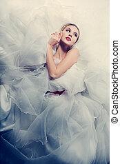 красивая, невеста, белый, платье, свадьба