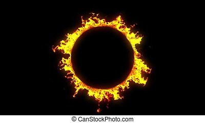 красивая, огонь, кольцо, hd, looped.