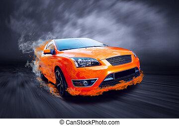 красивая, оранжевый, спорт, автомобиль, в, огонь