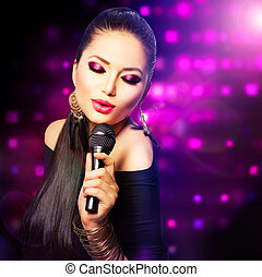 красивая, пение, girl., красота, женщина, with, микрофон