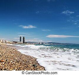 красивая, пляж, барселона