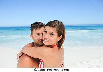 красивая, пляж, пара