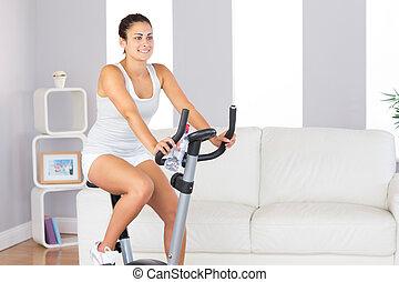 красивая, поместиться, женщина, обучение, на, упражнение,...