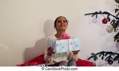 красивая, портрет, девушка, дерево, рождество