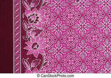 красивая, розовый, традиционный, patterns, батик, малайзия,...