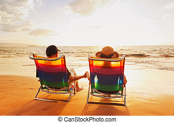 красивая, романтический, пара, закат солнца, enjoying, пляж...