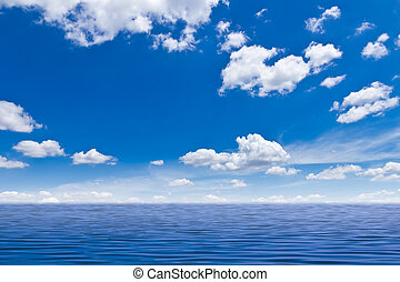 красивая, синий, небо, море