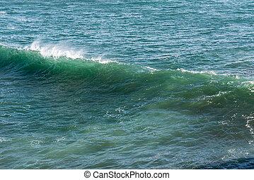 красивая, синий, океан, волна