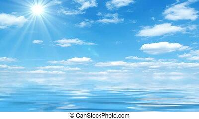 красивая, солнечно, день, море