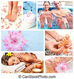 красивая, спа, collage., массаж