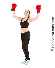 красивая, спортивный, женщина, with, заниматься боксом, gloves