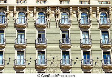 красивая, фасад, balconies, барселона