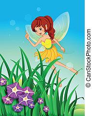красивая, фея, сад