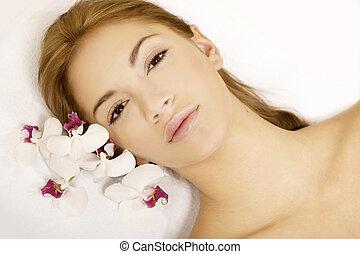 красивая, цветок, красота, молодой, лицо, женщина