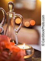красивая, buring, свеча, на, table., красивая, стакан, банка, of, масло, and, flowers.