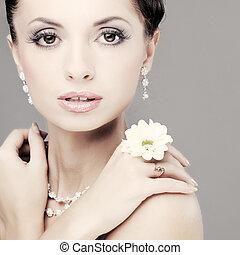 красивая, dress., украшение, bride., свадьба, портрет