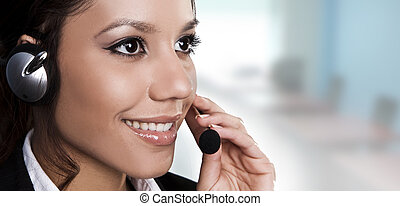 красивая, helpdesk, answering, isolated, или, оператор, портрет, линия, call., поддержка