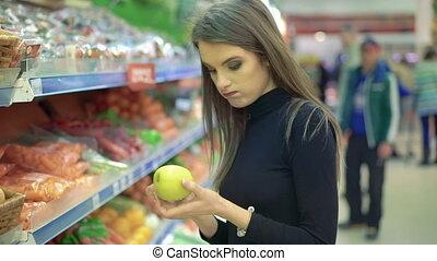 красивая, market., продуктовый, женщина, поход по магазинам, молодой, продукты, fruits