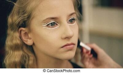 красивая, perfomance, художник, составить, молодой, актриса, лицо, indoors, танцы, make-up, девушка, марки, до