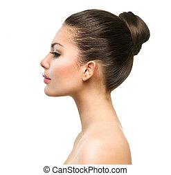 красивая, profile, лицо, of, молодой, женщина, with, чистый, свежий, кожа