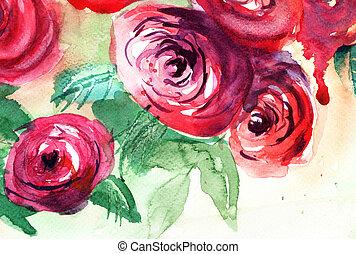красивая, roses, акварель, картина, цветы