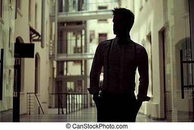 красивый, молодой, человек, носить, элегантный, одежда