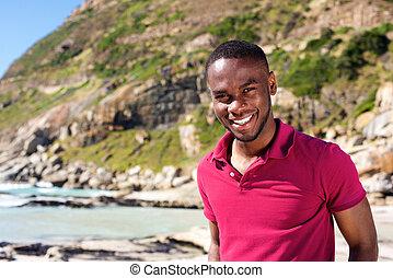 красивый, молодой, человек, постоянный, в, , пляж