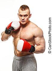 красивый, мускулистый, молодой, человек, носить, заниматься боксом, gloves
