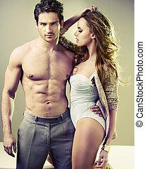 красивый, мускулистый мужчина, with, his, сексуальный, женщина