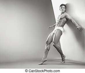 красивый, мускулистый, парень, в, , студия