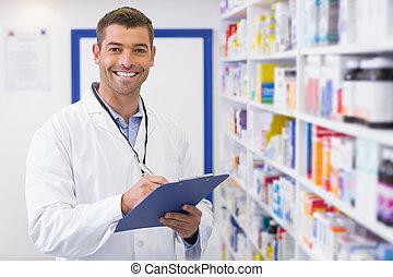 красивый, письмо, фармацевт