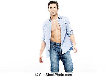 красивый, человек, with, очень, мускулистый, тело