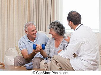 красивый, his, врач, пациент, помощь