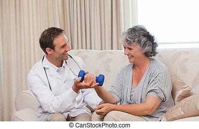 красивый, his, врач, пациент, exercises, помощь