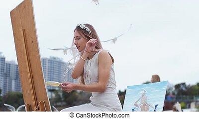 краски, против, женщина, блондин, пляж, задний план, молодой, открытый, seagulls, летающий, воздух, картина