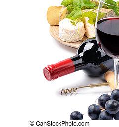 красный, вино, with, французский, сыр, выбор