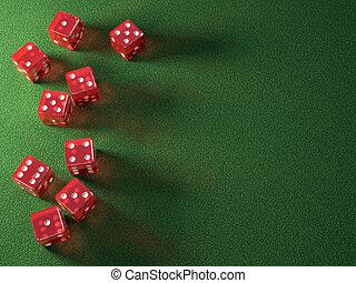 красный, игральная кость, зеленый, таблица
