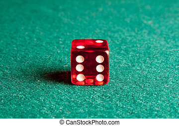 красный, игральная кость, на, зеленый, таблица
