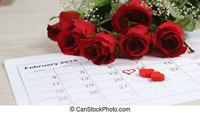 красный, календарь, показ, roses, февраль, 4k, букет, 14-я
