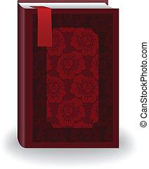 красный, книга, with, , закладка