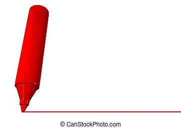 красный, маркер, рисование, линия
