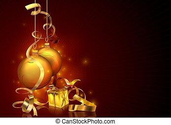 красный, рождество, задний план