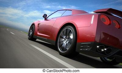 красный, спорт, автомобиль, перемещение, на, , дорога