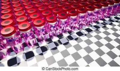 красный, стакан, vials, новый, лечение, developing,...