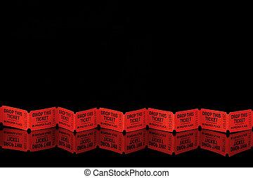 красный, tickets, на, черный