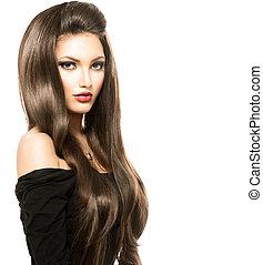 красота, женщина, with, длинный, здоровый, and, блестящий, гладкий; плавный, коричневый, волосы