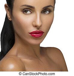 красота, женщина, with, длинный, черный, hair.