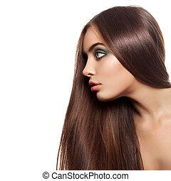 красота, женщина, with, здоровый, коричневый, hair., длинный, блестящий, прямо, hair., hairstyle.