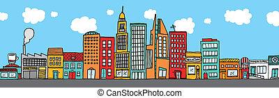 красочный, город, линия горизонта