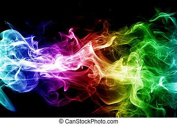 красочный, дым